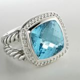 925 Silver Jewelry 14mm Blue Topaz Albion Ring(R-097)