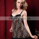 Fashional novel sexy hot lingeries animal print short babydolls 5093