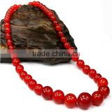 Fashion Natural Stone Red Ruby Round Beads Necklace