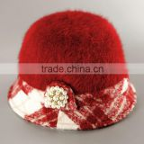 Cap, High Quality Winter Rabbit Fur Cap & Hat, Lady Bucket Pearl Charm Cap PJY-3