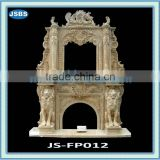 Yellow marble fireplace with lion statue