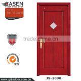 Color Customized single swing door glass solid wood doors polish color in guangzhou
