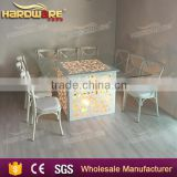 multi-colored led wedding table wooden frame white dining table                                                                                                         Supplier's Choice