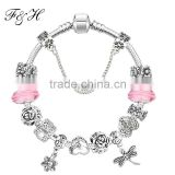 2016 Fashion Jewelry Handmade Charm Bracelet With Flower And Dragonfly Charm Pendant European Style Bracelets For Women