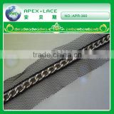 APR-360 Charming metal sequin swiss voile lace trimming/braids wholesale