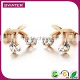 New Product Fashion Women Rose Gold Bow Mickey Mouse Earrings