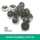(#B6021/11mm) nickel with black metallic lady blouse buttons with shank from Taiwan