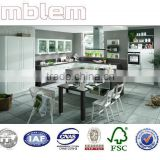 Amblem modern white lacquer door and grainwood melamine kitchen cabinets(1 year warranty)