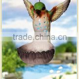 popular hanging ceramic flying bird with garden solar led lights