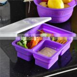 Wholesale Take Away Kid Japanese Bento Rectangle Collapsible Silicone Lunch Box                                                                                         Most Popular