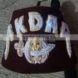 Shriners masonic 3 row fez hat with rhinestones and gold bullion threads | Akdar temple burgundy fez hat with tassel holder