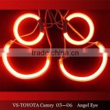wholesale led headlight red color for CAMRY 2003-2006(PROJECTOR) 12v ccfl angel eyes for toyota cars halo rings kit