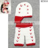 MZ3016 Newborn Baby Photography Props Cartoon Design Hat Set Handmade Crochet Knitted Beanie Cap Trousers Costume