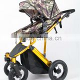 2015 gold frame baby prams, with big air wheels, 5 safe belt ,3 postion seat en1888
