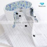 European style latest brand design button down double collar stripe luxury fashion short sleeve mens shirt cotton