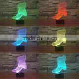3D Optical Night Light Boot Shoes 7 RGB Light Colors 10 LEDs AA Battery or DC 5V Mixed Lot