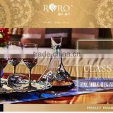 RORO Classic Pattern enamel home decoration pewter design craft goblet crystal red wine glass set