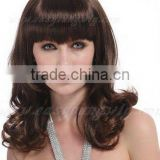 Non-virgin Natural brown curly heat resistant hair wigs for ladies