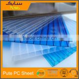 Transparent double-walled hollow channeled polycarbonate structured sheet