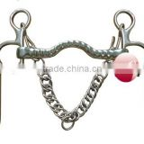 Stainless steel horse Military Elbow bit Low port mouth with hooks and curb chain(Type-053)
