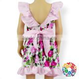 Pink Bowknot Flowers Summer Girl Dress New Style Low Back Cut Design Baby Party Dresses