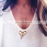 New Long Layered Gold Shark Tooth Pendant Necklace Bijuterias Atacado Colar