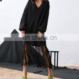OEM Oversized Pullover Sweater Black V-Neckline Tassel Hem Loose Sweater Dress For Women
