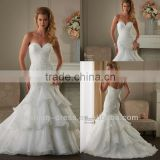New Elegant Lace Top Tiered Skirt Organza Mermaid Wedding Dress 2014