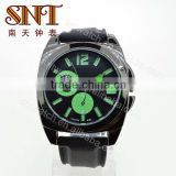 SNT-SI053 high quality men's square alloy case silicon watch, diameter 45mm, black color watch, green pointer, bracelet 22mm