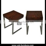 CT-007 Special Design Stainless Steel Side Table With Wood Top