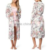 Hot sale plus size evening gown lady floral print sleepwear long robe