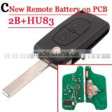 High Quality New 2 Button Flip Remote key Battery On Pcb For Citroen With HU83 Blade 433mhz