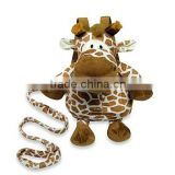 plush baby Harness bag/OEM plush giraffe backpack harness/baby's giraffe backpack harness