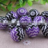2014 New Halloween Black&Purple Fashion Acrylic Fake Pearl Zig zag 20mm Chevron Beads, Bulk Acrylic Strip Waves Beads