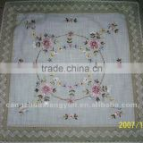 Ribbon embroidered floral petal table cloth