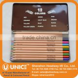 Natural Wood Colored Pencil in Tin Case; Metal Box Packing Natural Colored Pencil