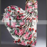 elegant Evening Party wea floor length all over rose printed chiffon long sleeve maxi dress women 2016