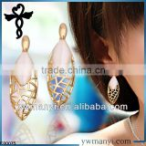 2014 new fashion ladies stud designs k gold gemstone pearl polishing earrings in zinc alloy jewelry E00075