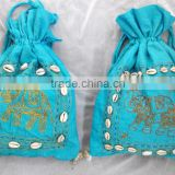 100 % Cotton banjara potli bag with elephant design and shells ibiza bag