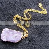 Purple gemstone amethyst slice druzy quartz pendant necklace raw stone amethyst High quality hot selling druzy agate necklace