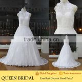 New Style High Neck Sleeveless Transparent Back Appliqued Lace Sequined Beading Wedding Dress 2016