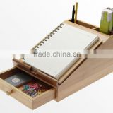 2015 hot sale bamboo desk organizer nwe design desks storage with drawer pad and phone standholder