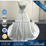 Fashion Wholesale Backless Long Train Blush Japanese Bridal Wedding Dress