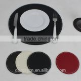 S/8 round faux leather coaster and placemat set,