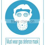 aluminum mandatory sign for work safety , Must wear gas defence mask signs