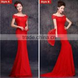 Elegant Red Floor length gown evening dresses Ball Gown capped Lace Embroidered Mesh Wrap Mermaid dress vestido noite