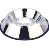 stainless steel dog bowl with rubber no-slip mat ring