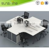 4 seat office workstation cubicle MFC board milk white and adjustable steel leg with small cabinet