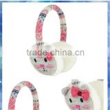 Grey cat knit adjustable earmuff with gem nose and 3D ears and pink bowknot
