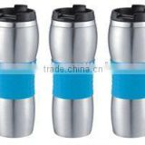 double wall insulated stainless steel vacuum thermal travel coffee mug with silicone wrap